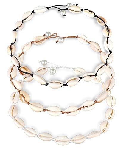 Finrezio 3 Piezas Set De Collares Gargantillas De Concha Natural para Mujeres Niñas Cuerda Trenzada Hecha a Mano Longitud 36cm