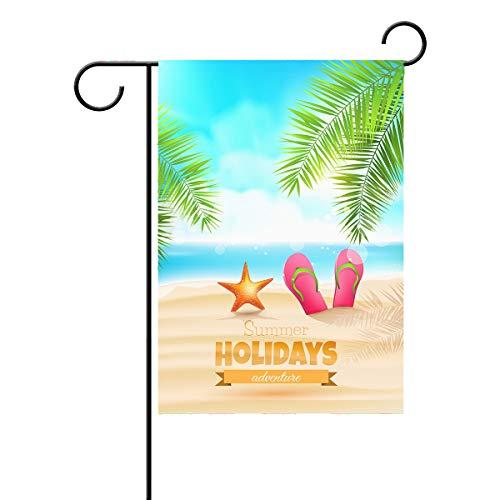 ALAZA Bandeira de jardim verão Hello Beach Sea Tropical Palm Leaves House Yard Banner para jardim com estampa dupla lateral 71 x 101 cm