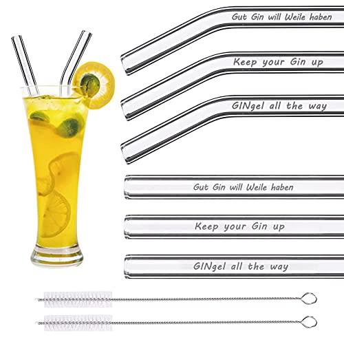 Glasstrohhalme für Gin Gläser ,Glas Strohhalme Wiederverwendbar mit Gravierten Gin-Sprüchen in Deutsch,Glasstrohhalme Umweltschonend und Glas-Trinkhalme für Cocktail Gläser(6 x 21.5cm)