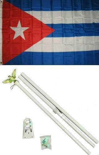 Zenda 3x5 Free shipping New Cuba Cuban Flag Set Pole Limited time trial price Kit 3'x5' White
