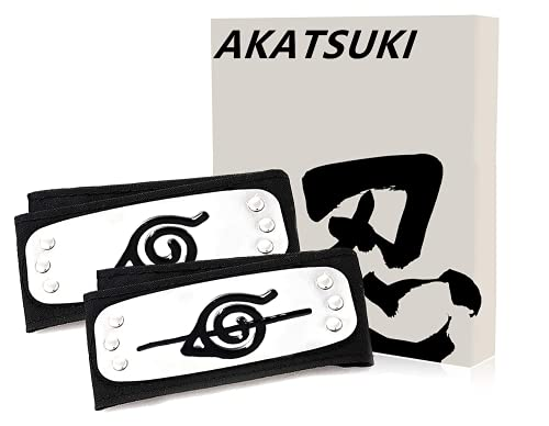 AKATSUKI Narutoo Headband Metal in Gift Box Narutoo Cosplay Narutoo Merch Leaf Village Headband Kakashi Cosplay (2pcs Set)
