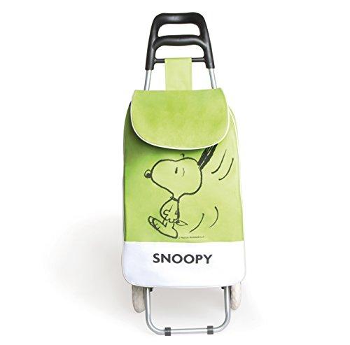 Excelsa Peanuts Snoopy Carrello Spesa, Tessuto, Verde
