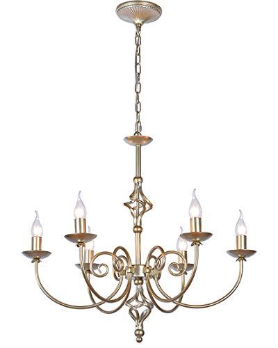 E14 Antik Industrie Hängeleuchte Europäischen Klassische Kerze Pendellampe Höhenverstellbar Wohnzimmer Eisenkunst Kronleuchter Golden 6heads Warmweißes 3000K Φ65cm