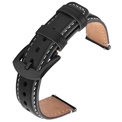 GerbGorb Uhrarmband Leder Kompatibel mit Huawei Samsung Amazfit Smartwatch, 22mm Vintage Leder Armband, Schnelle Veröffentlichung Uhrenarmband für Männer Frauen(22mm,Schwarze/Schwarze Schnalle)