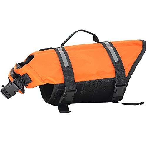 Chaleco Salvavidas para Perros para Dog Vest Life Jacket Entrenamiento de natación de Perros con Cierres de Clic Ajustables y Tiras Reflectantes, Disponible en 5 tamaños Diferentes, Naranja, S
