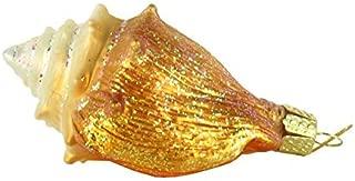 Old World Christmas Ornaments: Beach Shells Glass Blown Ornaments for Christmas Tree, Golden Seashell