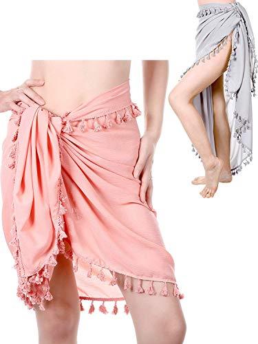 Traje de Baño Sarong Pareo de 2 Piezas de Playa Sarong Bikini de Verano Abrigos de Abrigo de Playa Falda con Borlas (Conjunto de Colores 4)