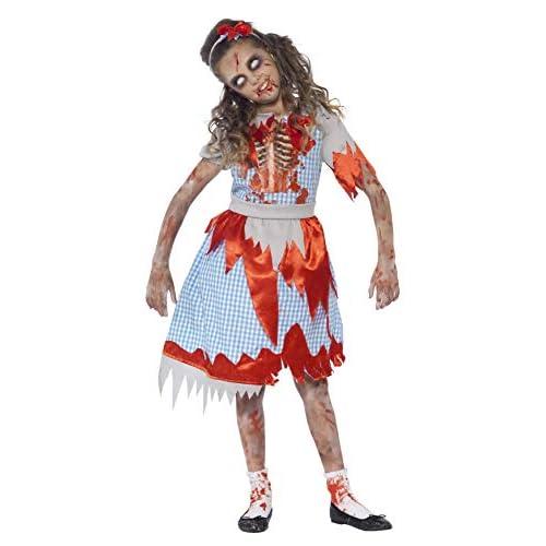 SMIFFYS Costume Zombie Ragazza Campagnola, Azzurro, comprende Abito, Dettaglio Stampato
