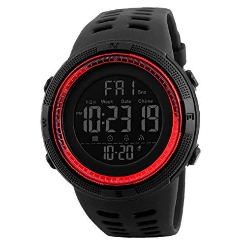 Hiinice Los Estudiantes del Reloj Reloj Militar Electrónico Digital con Cuero Brazalete De Fácil Lectura Impermeable Reloj Cronómetro Clásicos Rojos Herramientas Convenientes