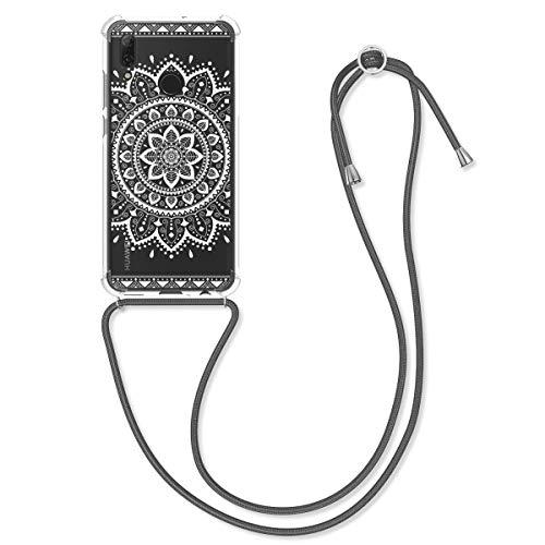 kwmobile Hülle kompatibel mit Huawei P Smart (2019) - mit Kordel zum Umhängen - Silikon Handy Schutzhülle Aztec Sonnenblume Weiß Transparent