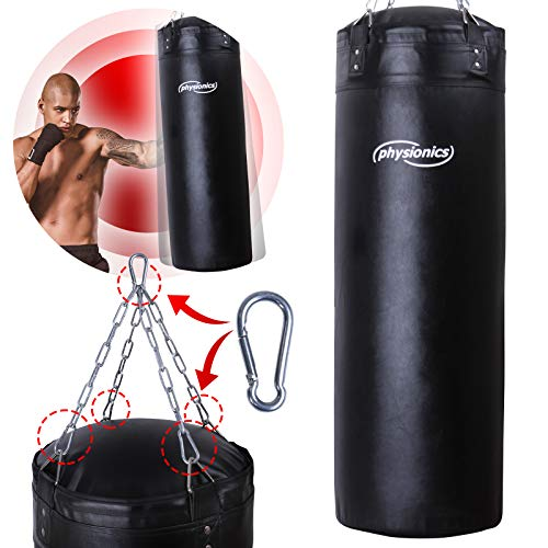 Physionics® Boxsack für Erwachsene - gefüllt, Ø35cm, H120cm, 30kg, Vierpunkt-Stahlkette und Karabinerhaken - Box, Kickboxen, MMA, Taekwando, Kampfsport, Fitness, Sport, Muay Thai, Punching Bag