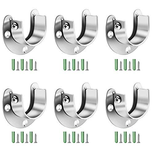 YEYIT 6 Stück Stangen Flansch Kleiderstangen Halterung Schrank Stangenhalter Edelstahl Rundrohr-halterung für Schrankrohr-stange Kleiderstange Duschvorhangstange mit Schraube Expansionsrohr (25mm)