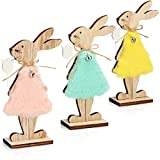 com-four® 3X Coniglietti pasquali da appoggiare in Legno - Figure Decorative per Pasqua -...