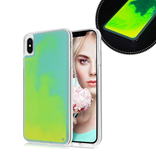 Losin Fluorescent Case Compatible with Apple iPhone X/iPhone Xs Case Luxury Glow in The Darkness Noctiluncent Liquid Luminous Sand Hard PC + Soft TPU Fluorescent Case