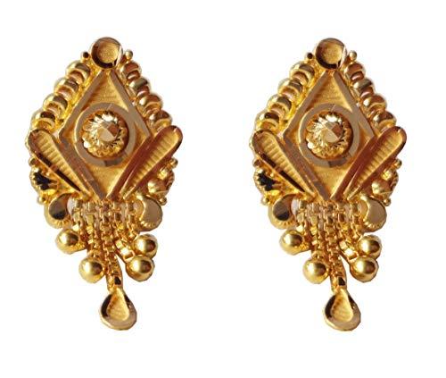 Certified Indian Handmade Solid 22K/18K Stamped Fine Gold Long Design Earrings