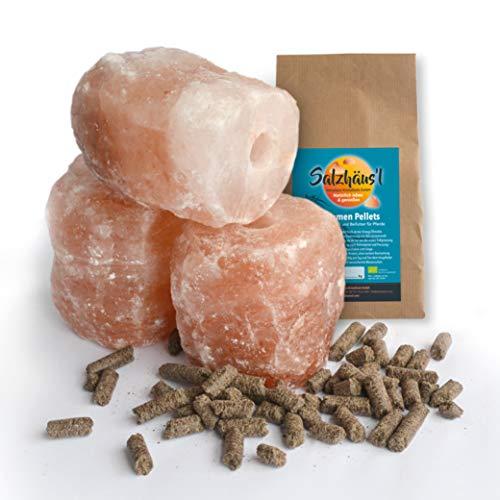 BIOMOND Salzleckstein Kritallsalz 3er-Set (3 x 2kg) Minerallecksteine mit Kordel & GRATIS Bio-Leinsamen Pellets