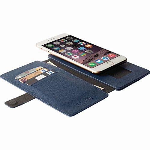 Krusell 76098 Malmoe Flip Wallet Slide Hülle für Smartphone und Tablet blau