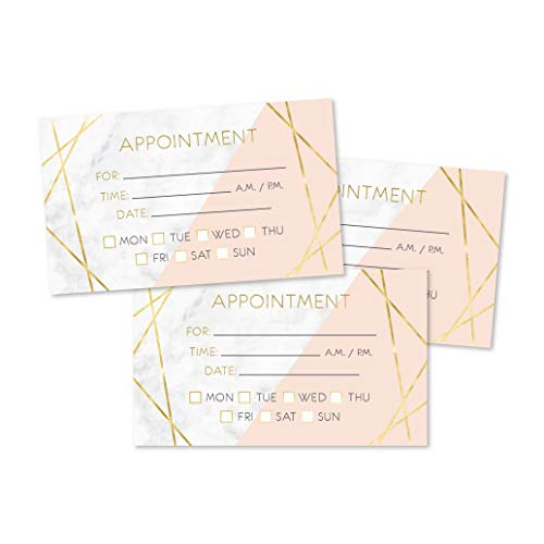50 Marble Gold Appointment Reminder Cards, Next Apt. With Medical Doctor, Dental, Salon, Therapy, Dog Grooming, Cleaning Business, Custom Personalized Blank Recall Service Reminder Notes