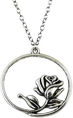 NC122 36x33mm Colgante de Collar de Flores para Mujer Collar Cadena de joyería Moda Color Plata Antigua