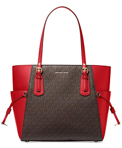 MICHAEL Michael Kors Voyager East/West Tote Brown/Bright Red One Size