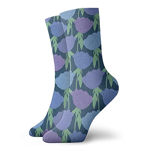Fashion Compression Socks,Plant Paeonia Arborea Tree Peony With Stem And Leaves Blue Backdrop,Performance Polyester Cushioned Athletic Crew Socks for Running,Athletic, -12 inch