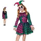 Disfraz Arlequín Halloween Niña Bufona Verde [Talla 7-9 años]【Talla Infantil de 3 a 12 años】 Disfraces Halloween para niña