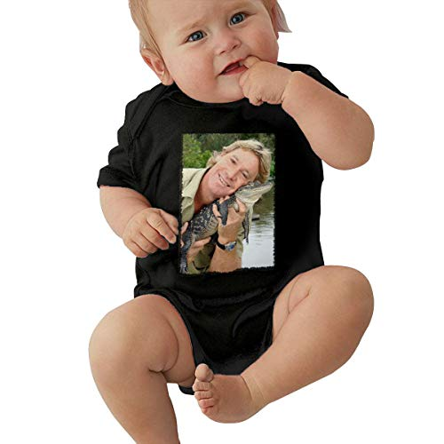 HualYwsl Steve Irwin Infant Bodysuits Newborn Babys 0-24M Organic Cotton Outfit Black