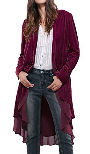 R.Vivimos Womens Ruffled Asymmetric Long Velvet Blazers Coat Casual Jackets (XL, Mulberry)