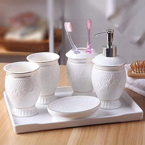 tgbnh Conjunto baño, 5 Pieza Impresionante Cuarto de baño Set de Accesorios, jabón Plato Vaso Botella Cepillo de Dientes del cucharón Loción, Blanca