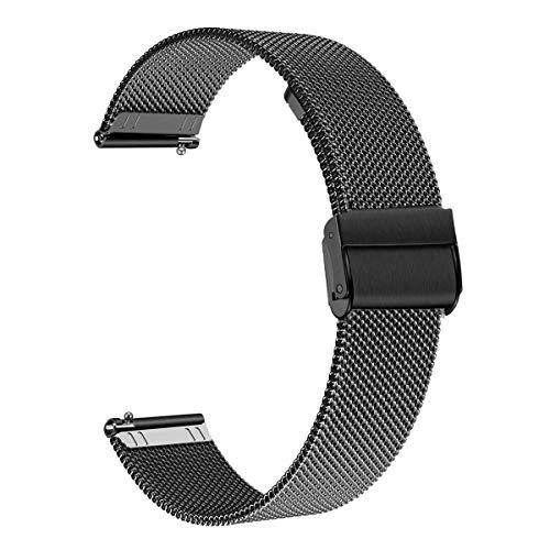 WATORY Ersatz für Samsung Galaxy Watch 46mm/Gear S3 Frontier/Classic Armband, 22mm Schnellwechsel Mesh Gewebte Edelstahl Armband Metall Uhrenarmband Business Ersatzband für Huawei Watch GT, Schwarz