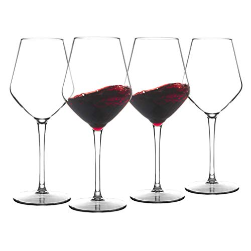 MICHLEY Unbreakable Stemmed Wine Glass 100% Tritan Plastic Dishwasher available Glassware 15 oz, Set of 4