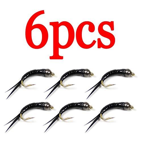 XACQuanyao LMY-Lure, 6 unids/Pack # 16 Cabeza de Grano de tungsteno NINFA Negra Larva Trucha Mosca Pesca con Mosca Mosca (Color : 6pcs)
