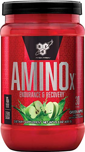 BSN Nutrition Amino X Muscle Building Support Powder Supplement with Vitamin D, Vitamin B6 and Amino Acids, Green Apple, 435 g, 30 Servings