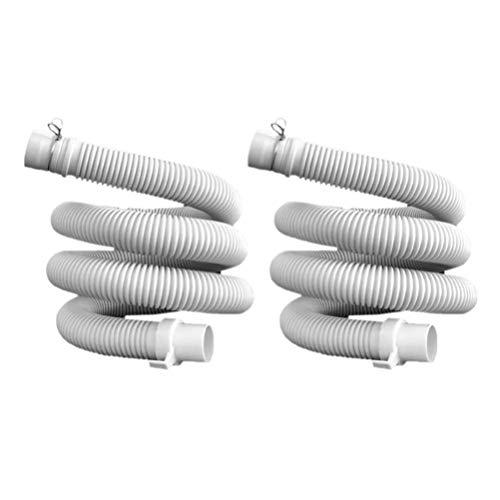 Topbathy - 2 tubos de escape para lavadora, con arandela de escape, extensión del tubo de repuesto, totalmente automático, tubo recto, tubo de escape espeso, 1 2 m 120 centimetri blanco