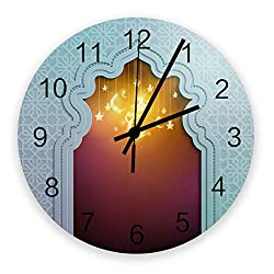 12 Inch Silent Round Wooden Wall Clock The Mysterious Gate of Ramadan Islamic Fairy Tales Has Stars and Moon Wall Clock, Non Ticking Battery Operated Quartz Home Decor Wall Clocks for Living Room