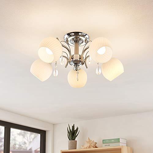 Lindby Deckenlampe 'Feodora' in Chrom aus Glas u.a. für Wohnzimmer & Esszimmer (5 flammig, E14, A++) - Deckenleuchte, Lampe, Wohnzimmerlampe