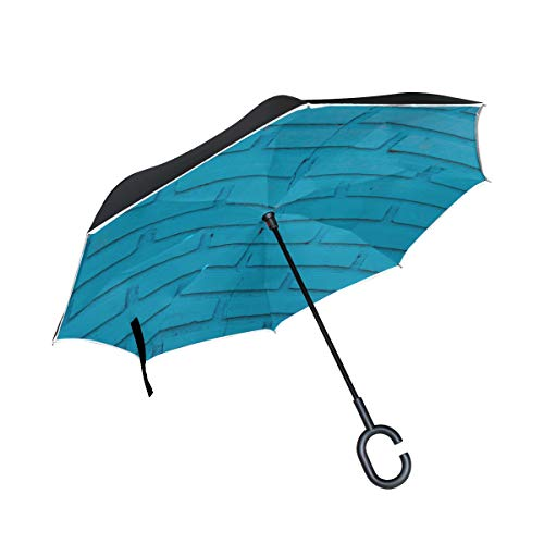 Double Layer Inverted Inverted Umbrella Is Light And Sturdy Brick Wall Brick Wall Painted Blue Reverse Umbrella And Windproof Umbrella Edge Night Ref