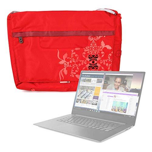 DURAGADGET Bolso Rojo con Print Floral para Portátil Lenovo ideapad 330-15IKBR, Lenovo ideapad 530S-14IKB - con Múltiples Bolsillos Y Asa De Hombro Ajustable