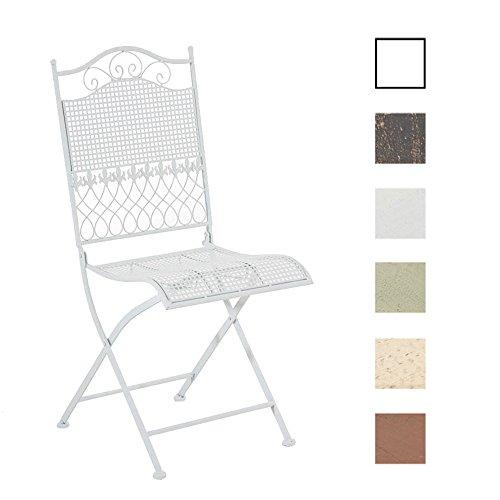 CLP Silla De Terraza Plegable Kiran En Hierro Forjado | Silla De Exterior Estilo Rústico | Silla De Jardín con Adornos Medievales | Color: Blanco