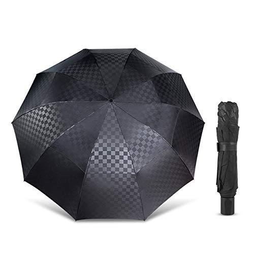 144 cm doble capa grande paraguas lluvia mujeres oscuro rejilla viaje negocios paraguas 3plegable viento grande para hombres mujeres paraguas - negro, A4