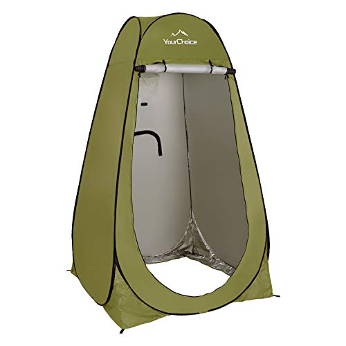 Your Choice Pop Up Camping Shower Tent, Portable Changing Room Camp Shower Toilet Privacy shelter Tents for Outdoor and Indoor, 6.2FT Tall - Color Green