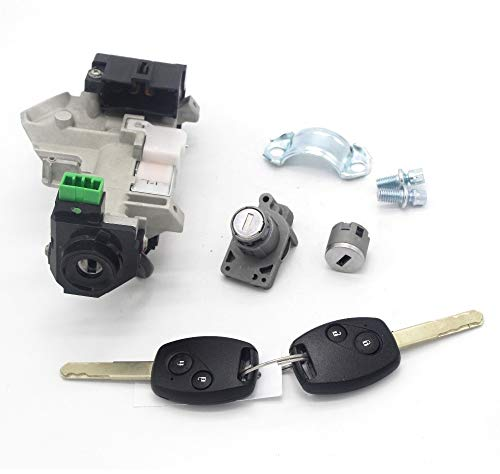 Conjunto de Bloqueo Completo Interruptor de Encendido Cerradura de la Puerta Barril Trans 2 Llaves con 46 fichas/Ajuste para HON.DA CRV CR-V 07-11 (Color : Black)