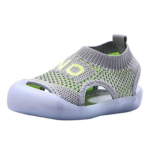 Zapatos para niños pequeños, zapatos de punto de malla, antideslizantes, transpirables, para exteriores, playa, senderismo, etc., gris, 26