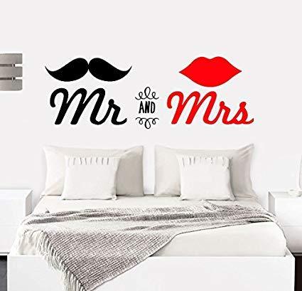 """PAQ Frase coppia parete camera da letto """"Mr &(and) Mrs"""" Stickers decorativi frasi motivazionali da parete adesivo da parete (100 x 30 cm)"""