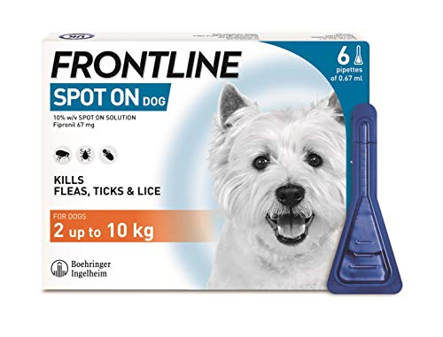 FRONTLINE Spot On Flea & Tick Treatment for Small Dogs (2-10 kg) - 6 Pipettes