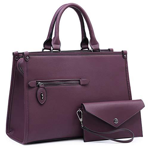 Dasein Women Satchel Handbags and Purses Shoulder Bags Top Handle Work Tote Bags for Ladies with Wallet (Purple)