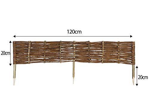 Mcsammler Weide Beeteinfassung in 16 Größen Weidenzaun Rasenkante Beetbegrenzung Steckzaun imprägniert mit Buchepflöcken für leichtes Einsetzen Länge: 120 cm Höhe: 20 cm