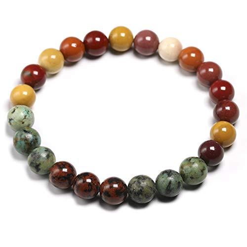 ZHONGGOZZ Cuentas de piedra de caobang natural de 8 mm y pulsera de mookaita para mujeres y hombres, conjuntos de collar de meditación 108 cuentas de mala, joyería (color metálico: pulsera)