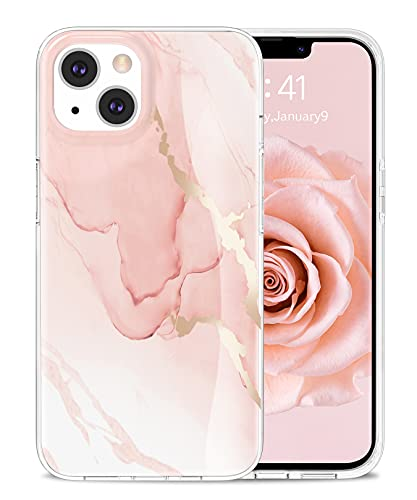 Togestar Marmor Hülle für iPhone 13, [MoonRiver Series 2021 Design] Ultra Dünn Aesthetic Glitzer Silikon Handyhülle, Flexibel Schutzhülle Marble Hülle, Rosa