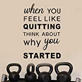 AnFigure Motivational Wall Decals, Gym Wall Decal, Quote Inspirational Sports Workout Fitness Exercise Vinyl Art Home Decor Stickers When You Feel Like Quitting Think About Why You Started 13'x19'